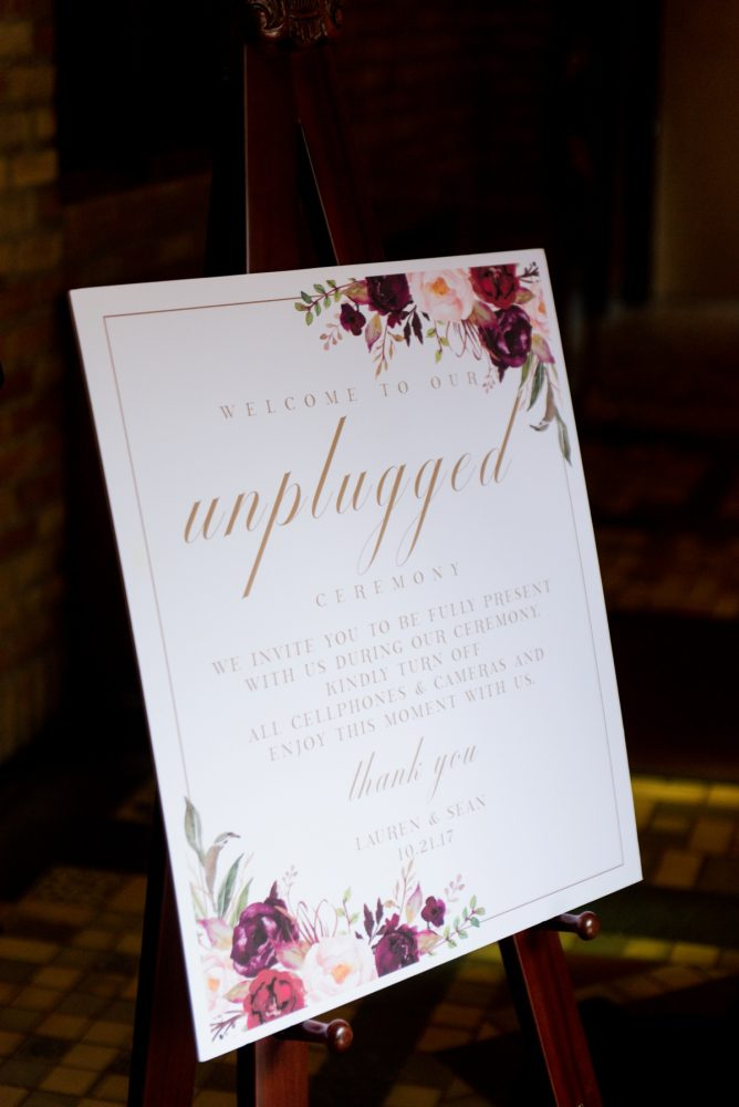 Unplugged Wedding Ceremony Sign: Sophisticated Merlot Wedding at the Omni William Penn Hotel from Leeann Marie, Wedding Photographers featured on Burgh Brides