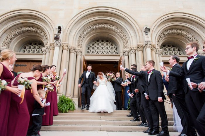 Wedding Ceremony Confetti Exit: Sophisticated Merlot Wedding at the Omni William Penn Hotel from Leeann Marie, Wedding Photographers featured on Burgh Brides