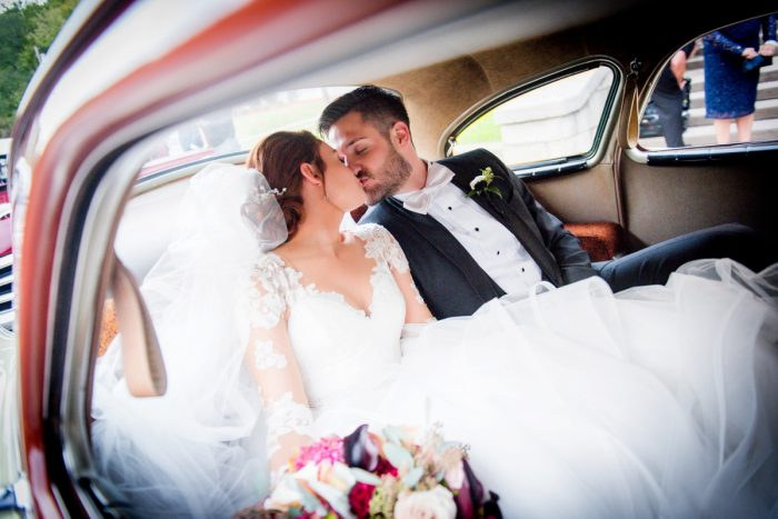 Antique Getaway Car Wedding Day: Sophisticated Merlot Wedding at the Omni William Penn Hotel from Leeann Marie, Wedding Photographers featured on Burgh Brides