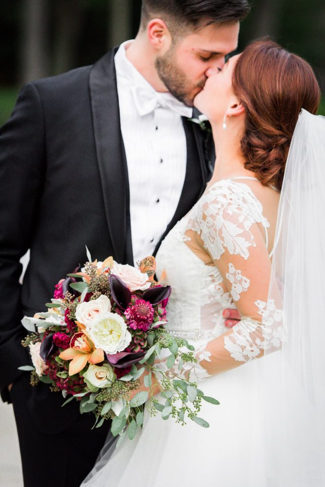 Fall Wedding Bouquet: Sophisticated Merlot Wedding at the Omni William Penn Hotel from Leeann Marie, Wedding Photographers featured on Burgh Brides