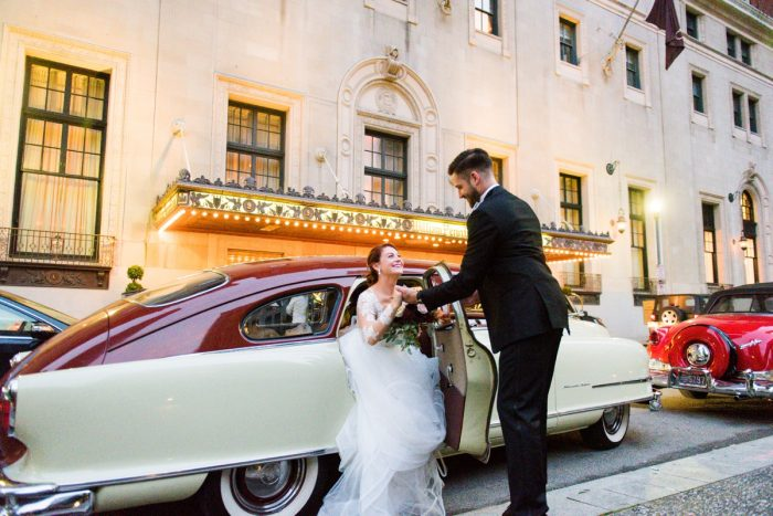 Vintage Wedding Getaway Car: Sophisticated Merlot Wedding at the Omni William Penn Hotel from Leeann Marie, Wedding Photographers featured on Burgh Brides