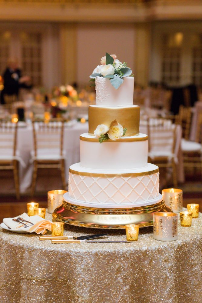 White and Gold Wedding Cake: Sophisticated Merlot Wedding at the Omni William Penn Hotel from Leeann Marie, Wedding Photographers featured on Burgh Brides