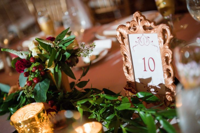 Gold Table Numbers: Sophisticated Merlot Wedding at the Omni William Penn Hotel from Leeann Marie, Wedding Photographers featured on Burgh Brides