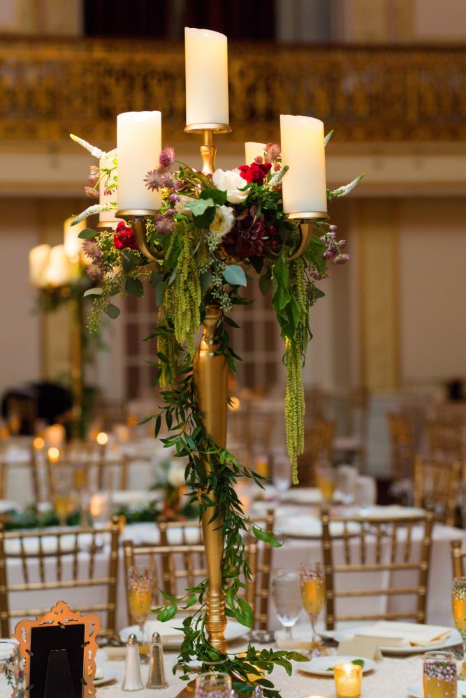 Fall Wedding Centerpieces: Sophisticated Merlot Wedding at the Omni William Penn Hotel from Leeann Marie, Wedding Photographers featured on Burgh Brides