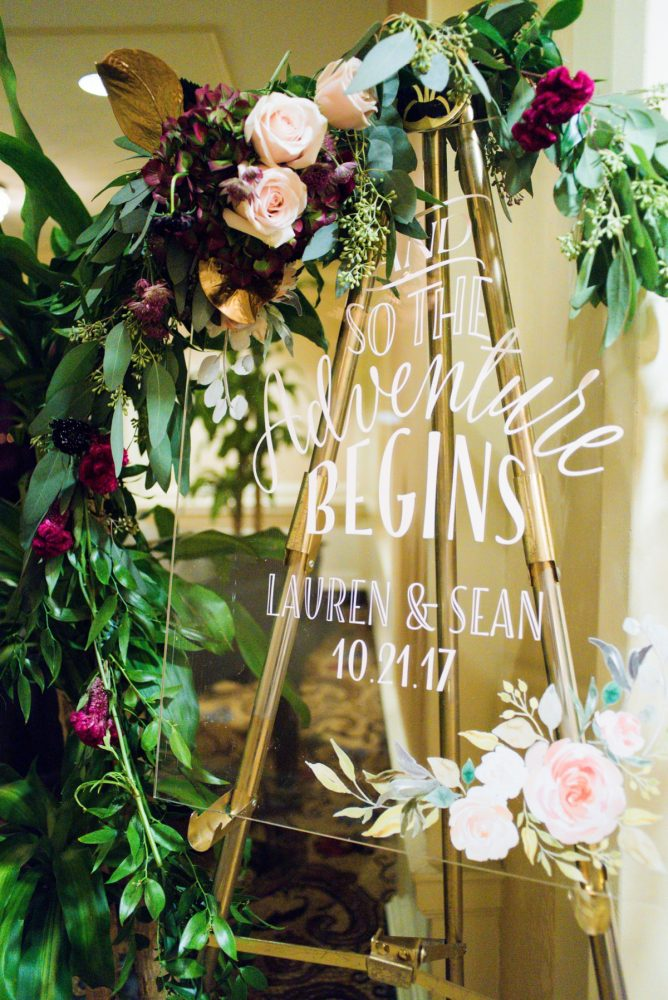 Wedding Welcome Signs: Sophisticated Merlot Wedding at the Omni William Penn Hotel from Leeann Marie, Wedding Photographers featured on Burgh Brides