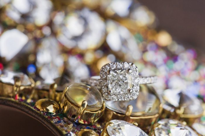 Square Shaped Diamond Engagement Ring Halo Setting: Sparkly Gold Wedding at Longue Vue Club from Jeannine Bonadio Photography featured on Burgh Brides