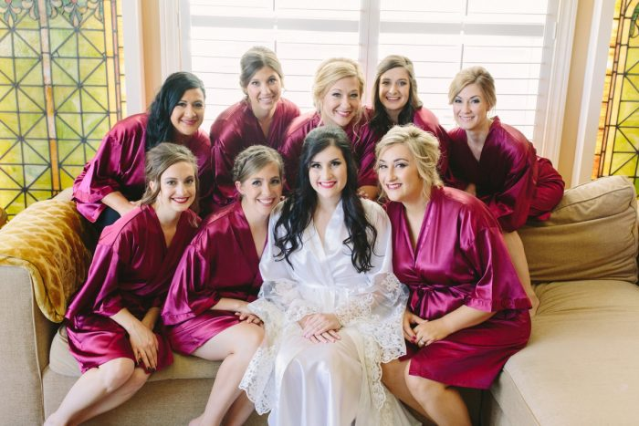 Pink Satin Bridesmaids Robes: Sparkly Gold Wedding at Longue Vue Club from Jeannine Bonadio Photography featured on Burgh Brides