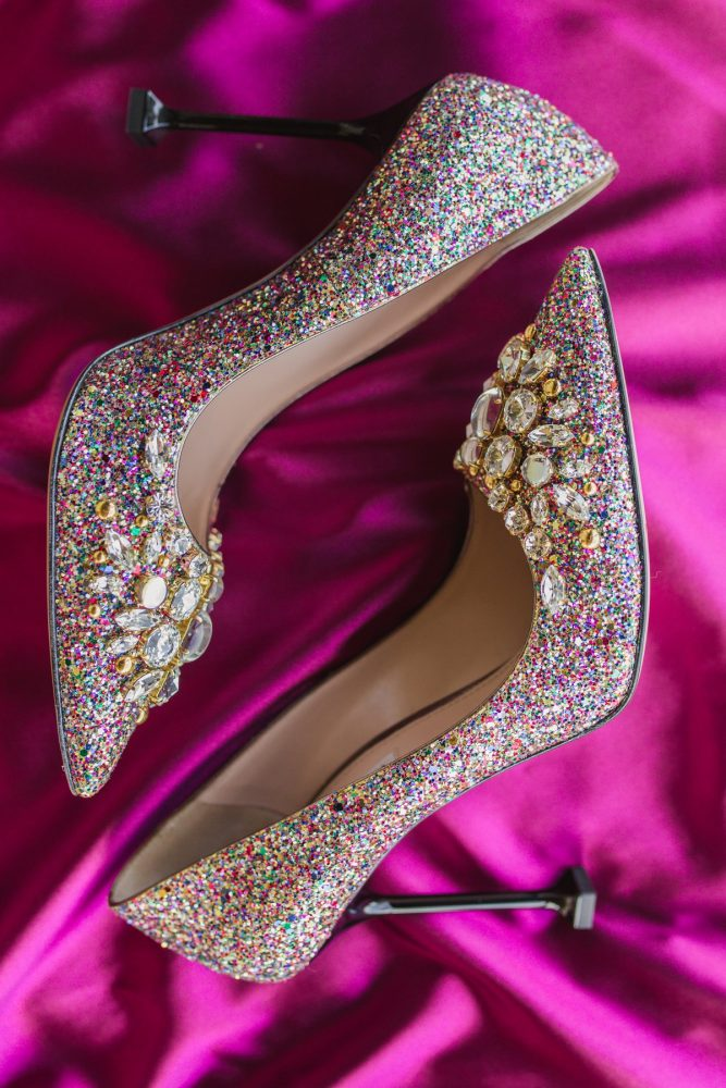 Gold Rhinestone Glitter Wedding Shoes: Sparkly Gold Wedding at Longue Vue Club from Jeannine Bonadio Photography featured on Burgh Brides