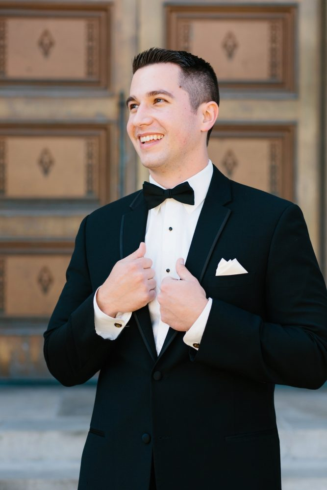 Black and White Groom Tuxedo: Sparkly Gold Wedding at Longue Vue Club from Jeannine Bonadio Photography featured on Burgh Brides