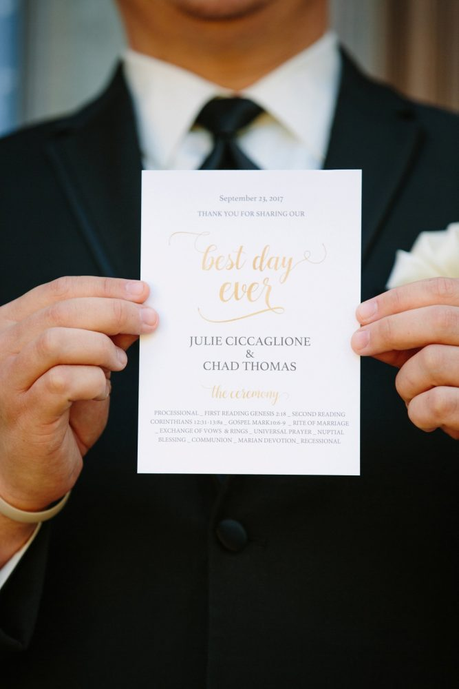 Best Day Ever Wedding Ceremony Programs: Sparkly Gold Wedding at Longue Vue Club from Jeannine Bonadio Photography featured on Burgh Brides