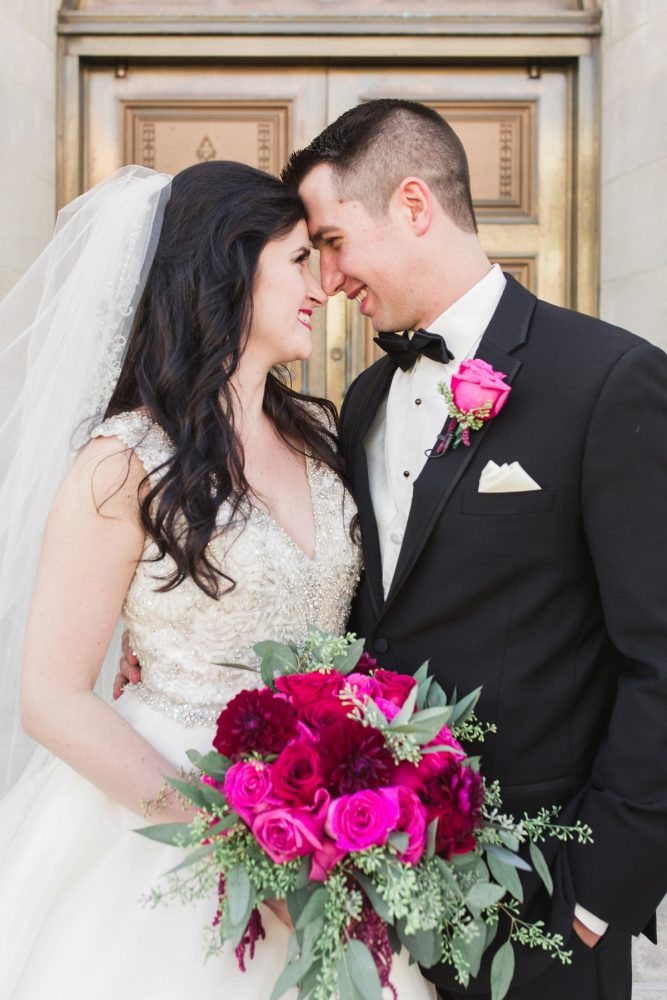 Bright Pink Bridal Bouquet: Sparkly Gold Wedding at Longue Vue Club from Jeannine Bonadio Photography featured on Burgh Brides