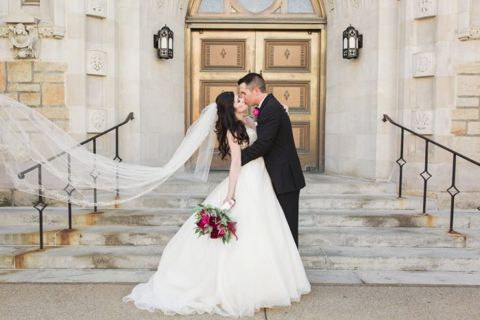 Cathedral Length Veil on Bride: Sparkly Gold Wedding at Longue Vue Club from Jeannine Bonadio Photography featured on Burgh Brides
