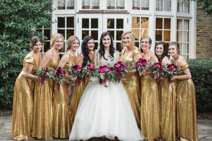 Gold Sequin Bridesmaids Dresses: Sparkly Gold Wedding at Longue Vue Club from Jeannine Bonadio Photography featured on Burgh Brides