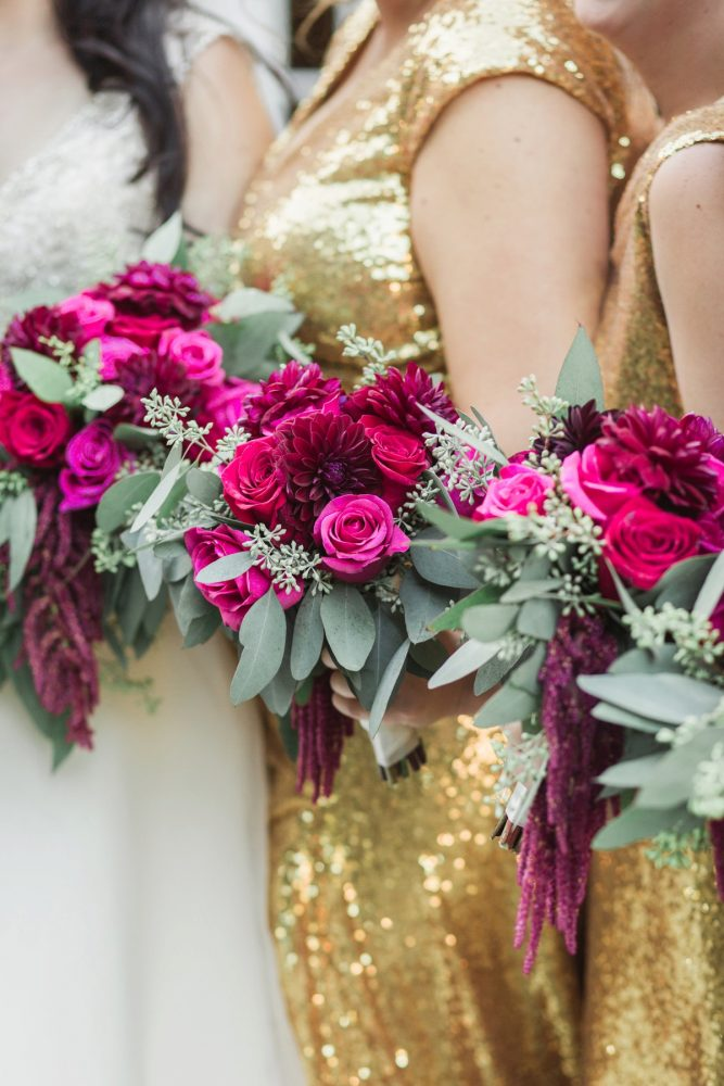 Bright Pink Wedding Bouquets: Sparkly Gold Wedding at Longue Vue Club from Jeannine Bonadio Photography featured on Burgh Brides