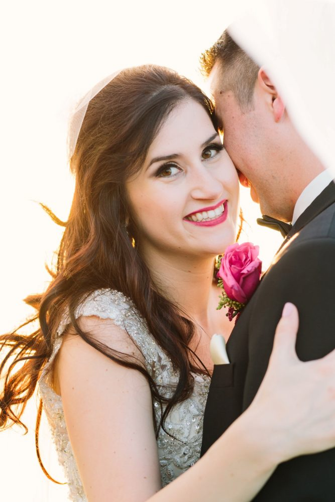 Bright Lipstick on Bride: Sparkly Gold Wedding at Longue Vue Club from Jeannine Bonadio Photography featured on Burgh Brides
