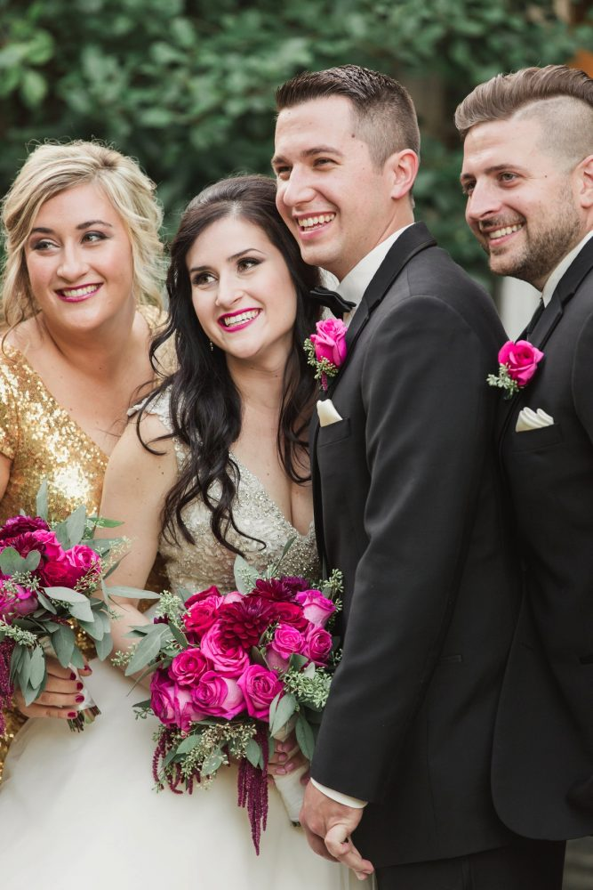 Bright Pink Wedding Fashion: Sparkly Gold Wedding at Longue Vue Club from Jeannine Bonadio Photography featured on Burgh Brides