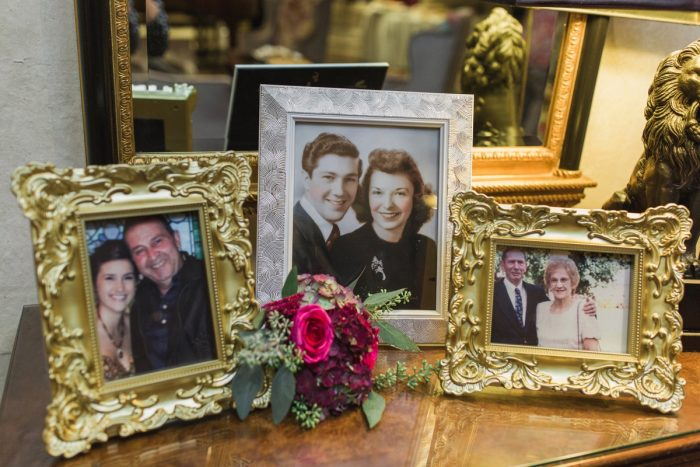 Family Wedding Portrait Display: Sparkly Gold Wedding at Longue Vue Club from Jeannine Bonadio Photography featured on Burgh Brides