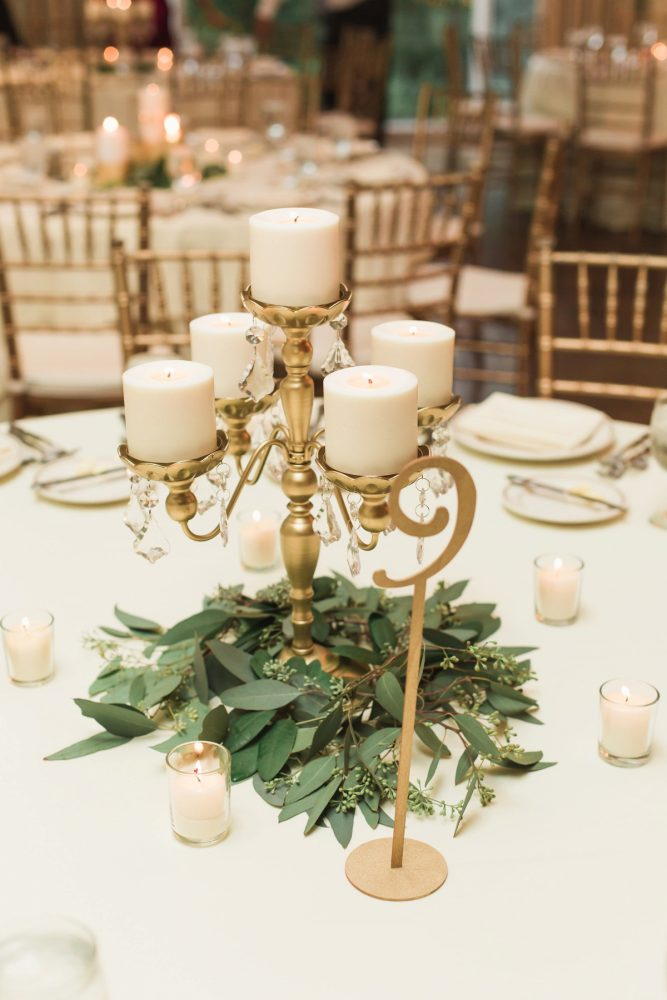 Candelabra Wedding Centerpieces: Sparkly Gold Wedding at Longue Vue Club from Jeannine Bonadio Photography featured on Burgh Brides