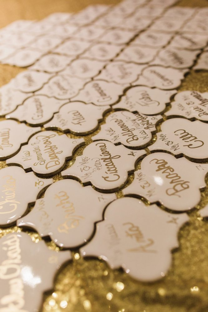Wedding Escort Cards: Sparkly Gold Wedding at Longue Vue Club from Jeannine Bonadio Photography featured on Burgh Brides