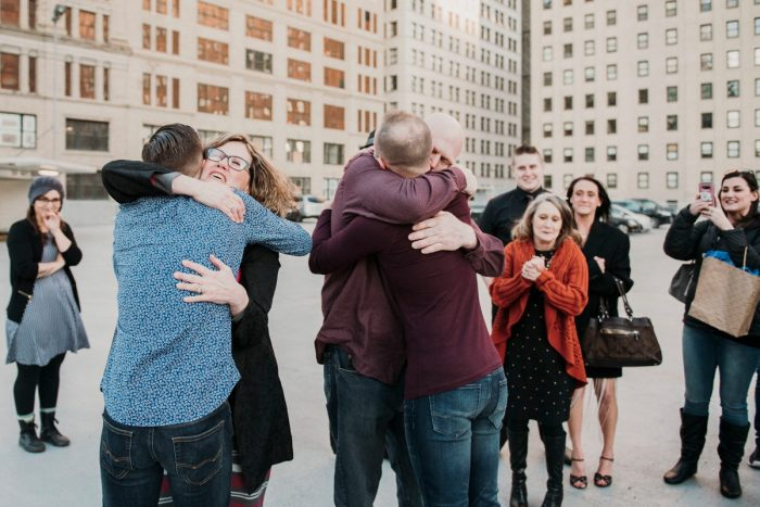 Styled Surprise Proposal in Downtown Pittsburgh from Sandrachile featured on Burgh Brides