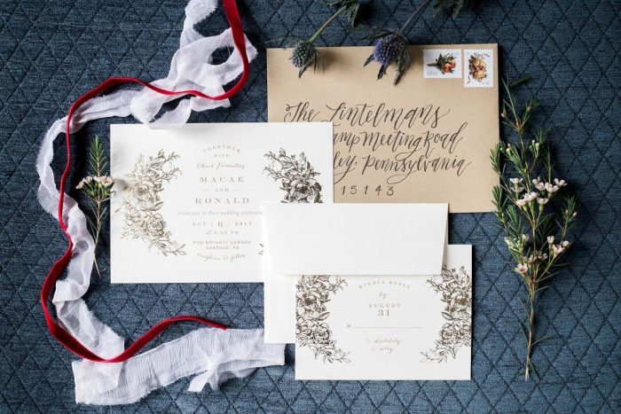 Vintage Wedding Invitations: Thoughtful Vintage Wedding at the Pittsburgh Botanic Gardens from Caitlin's Living Photography featured on Burgh Brides