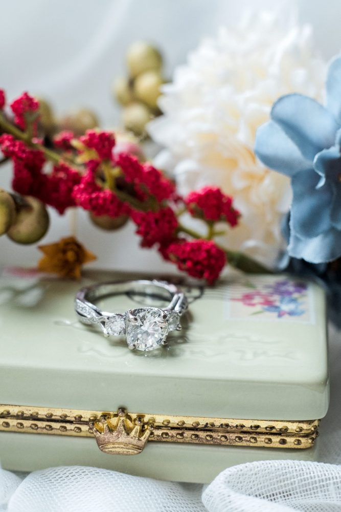 Round Diamond Engagement Ring: Thoughtful Vintage Wedding at the Pittsburgh Botanic Gardens from Caitlin's Living Photography featured on Burgh Brides