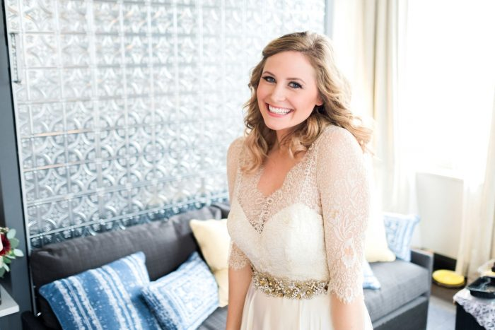 Ivory Lace Wedding Dress: Thoughtful Vintage Wedding at the Pittsburgh Botanic Gardens from Caitlin's Living Photography featured on Burgh Brides