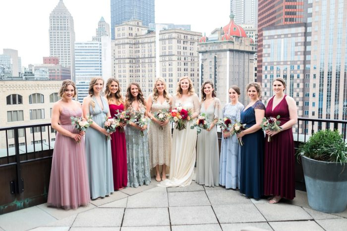 Mismatched Bridesmaids Dresses: Thoughtful Vintage Wedding at the Pittsburgh Botanic Gardens from Caitlin's Living Photography featured on Burgh Brides