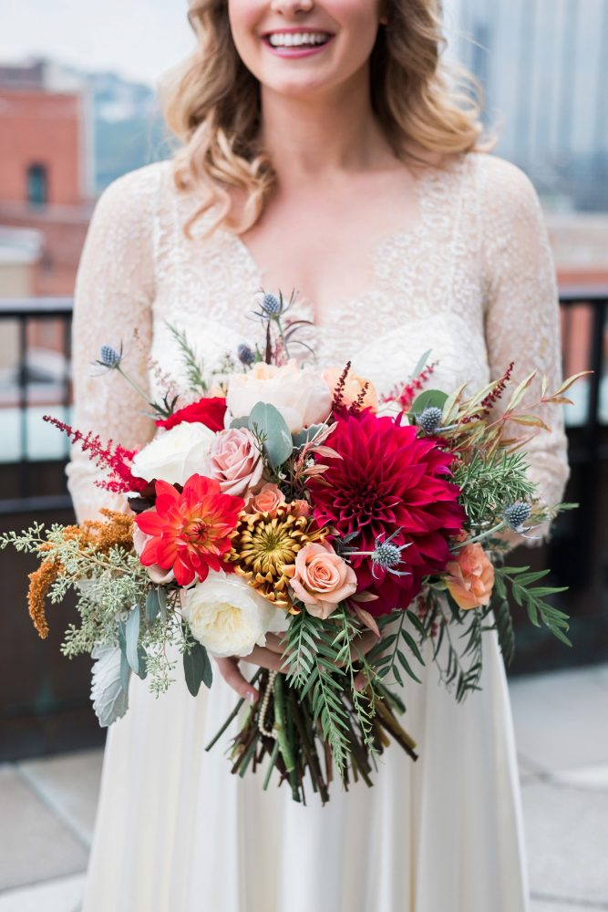 Fall Wedding Bouquet: Thoughtful Vintage Wedding at the Pittsburgh Botanic Gardens from Caitlin's Living Photography featured on Burgh Brides