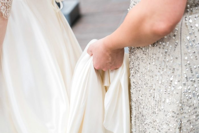 Bride Wedding Dress Train: Thoughtful Vintage Wedding at the Pittsburgh Botanic Gardens from Caitlin's Living Photography featured on Burgh Brides
