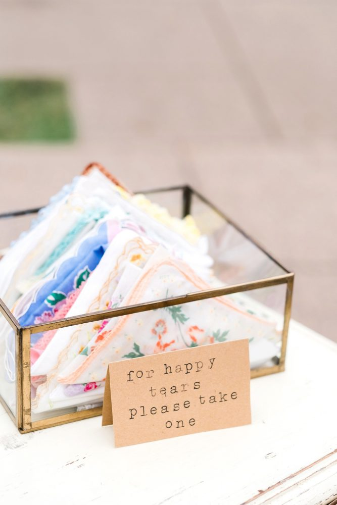 Wedding Ceremony Handkerchiefs: Thoughtful Vintage Wedding at the Pittsburgh Botanic Gardens from Caitlin's Living Photography featured on Burgh Brides