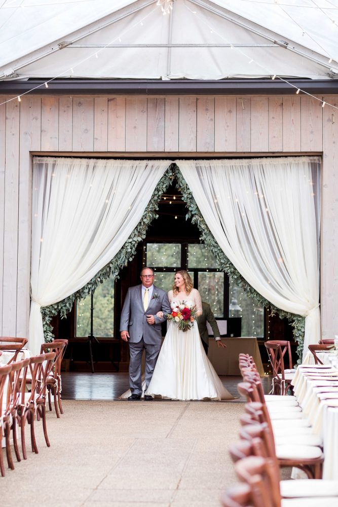Bride Walking Down the Aisle: Thoughtful Vintage Wedding at the Pittsburgh Botanic Gardens from Caitlin's Living Photography featured on Burgh Brides