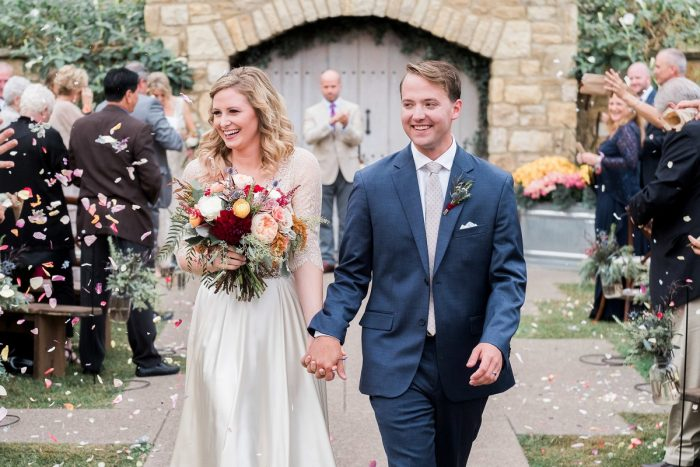 Confetti Wedding Ceremony Exit: Thoughtful Vintage Wedding at the Pittsburgh Botanic Gardens from Caitlin's Living Photography featured on Burgh Brides
