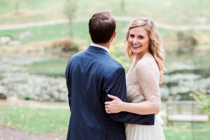 Navy Blue Groom Suit: Thoughtful Vintage Wedding at the Pittsburgh Botanic Gardens from Caitlin's Living Photography featured on Burgh Brides