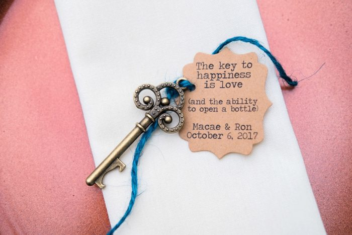 Vintage Key Wedding Escort Cards: Thoughtful Vintage Wedding at the Pittsburgh Botanic Gardens from Caitlin's Living Photography featured on Burgh Brides
