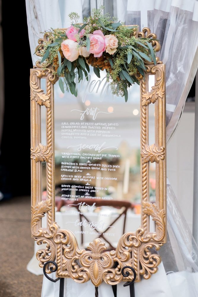 Mirror Wedding Welcome Sign: Thoughtful Vintage Wedding at the Pittsburgh Botanic Gardens from Caitlin's Living Photography featured on Burgh Brides