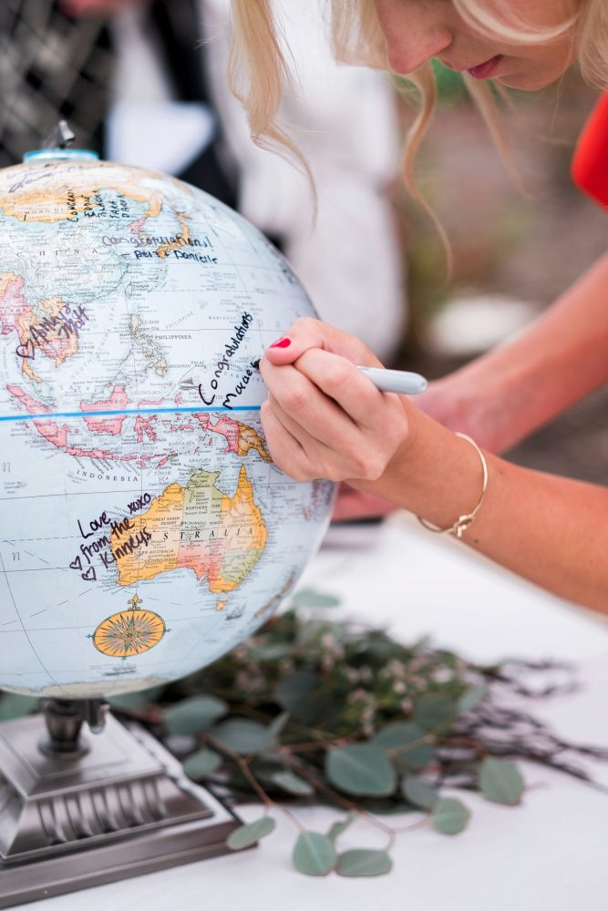 Globe Wedding Guest Book: Thoughtful Vintage Wedding at the Pittsburgh Botanic Gardens from Caitlin's Living Photography featured on Burgh Brides