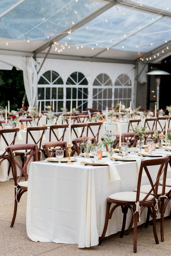 Tented Wedding Reception: Thoughtful Vintage Wedding at the Pittsburgh Botanic Gardens from Caitlin's Living Photography featured on Burgh Brides