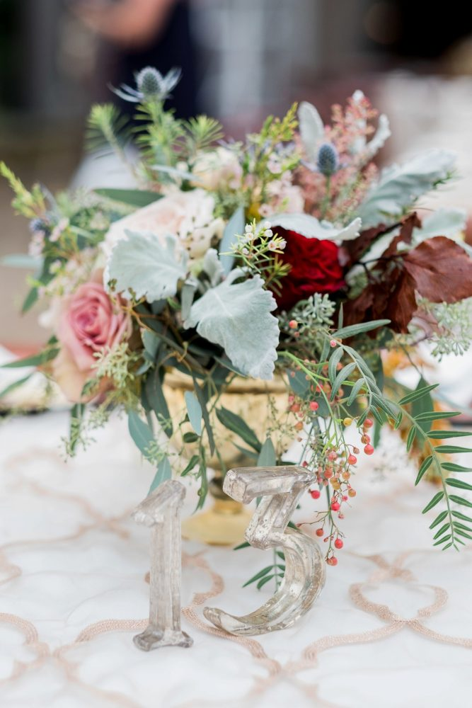 Glass Wedding Table Numbers: Thoughtful Vintage Wedding at the Pittsburgh Botanic Gardens from Caitlin's Living Photography featured on Burgh Brides