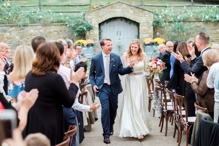 Bride and Groom Entrance: Thoughtful Vintage Wedding at the Pittsburgh Botanic Gardens from Caitlin's Living Photography featured on Burgh Brides