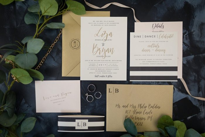 Striped Wedding Invitations: Elegant Striped Wedding at the Wyndham Grand Pittsburgh from Kristen Wynn Photography featured on Burgh Brides