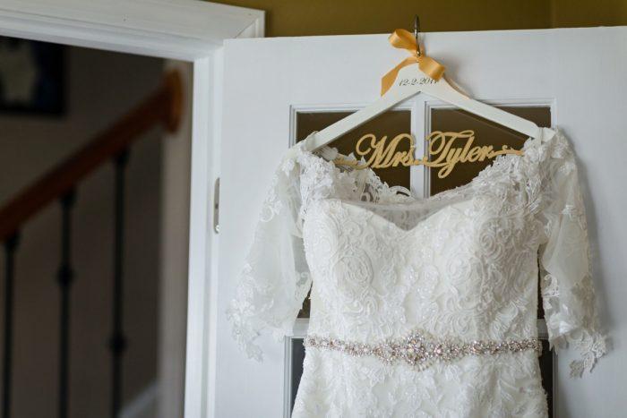 Custom Bridal Hanger: Elegant Striped Wedding at the Wyndham Grand Pittsburgh from Kristen Wynn Photography featured on Burgh Brides