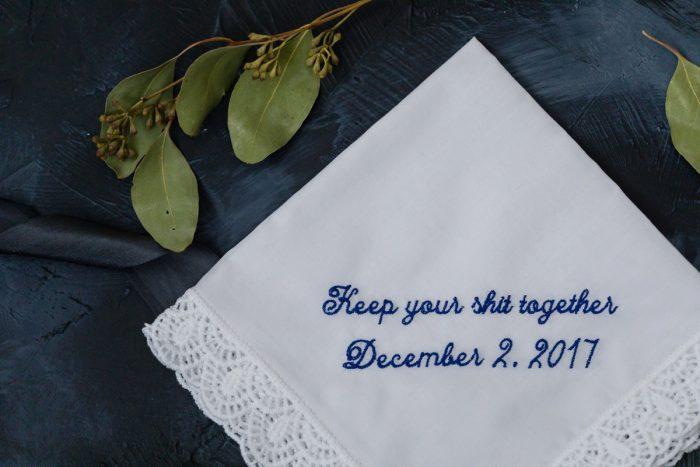 Wedding Handkerchief: Elegant Striped Wedding at the Wyndham Grand Pittsburgh from Kristen Wynn Photography featured on Burgh Brides