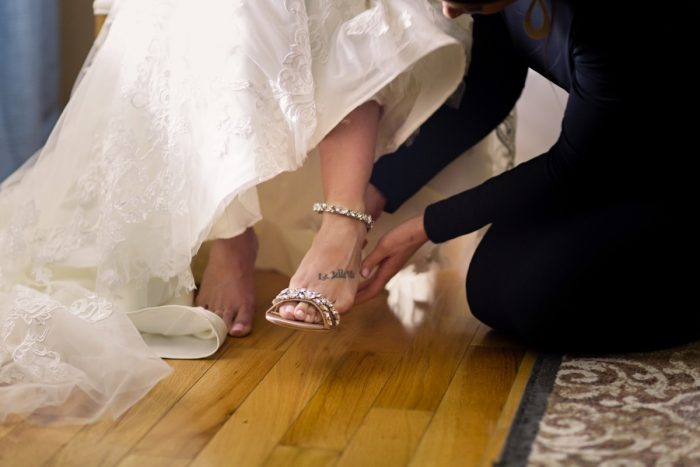 Wedding Shoes: Elegant Striped Wedding at the Wyndham Grand Pittsburgh from Kristen Wynn Photography featured on Burgh Brides