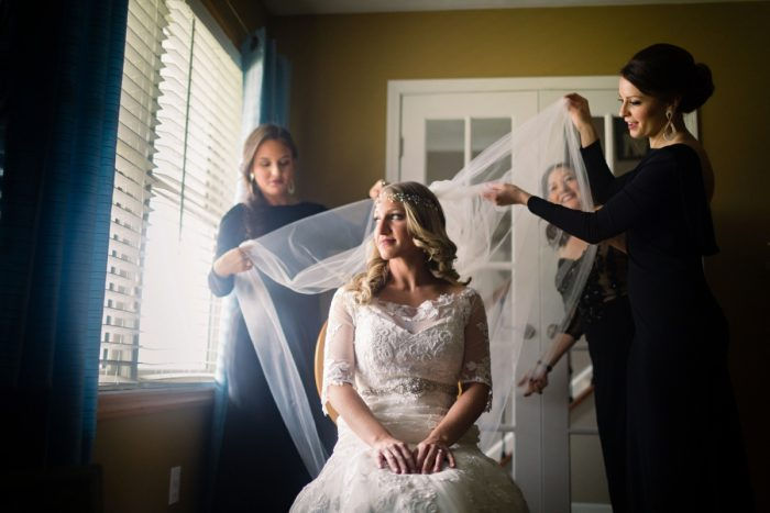 Bridal Veil: Elegant Striped Wedding at the Wyndham Grand Pittsburgh from Kristen Wynn Photography featured on Burgh Brides