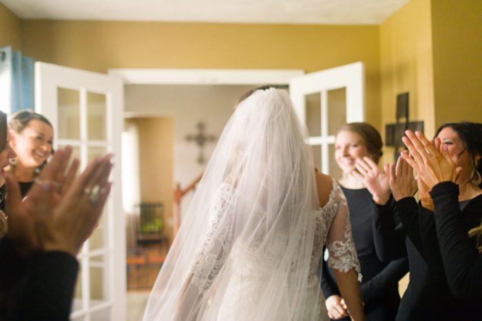 Bridesmaid First Look: Elegant Striped Wedding at the Wyndham Grand Pittsburgh from Kristen Wynn Photography featured on Burgh Brides