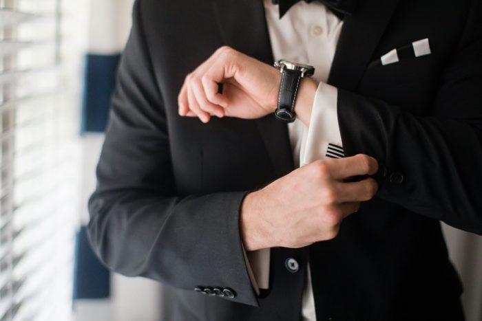 Groom Cufflinks: Elegant Striped Wedding at the Wyndham Grand Pittsburgh from Kristen Wynn Photography featured on Burgh Brides