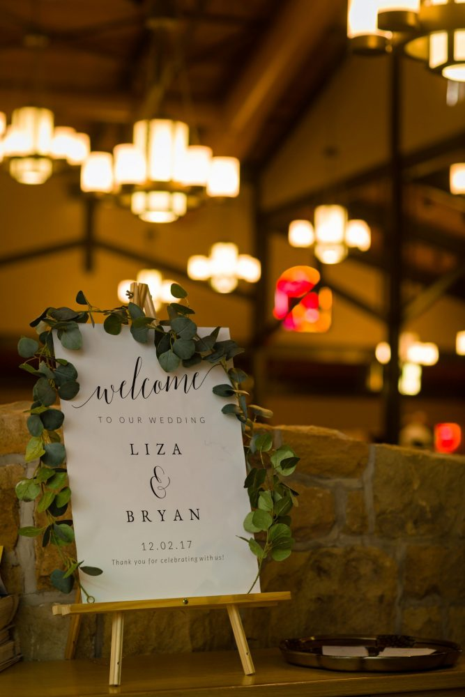 Wedding Welcome Sign: Elegant Striped Wedding at the Wyndham Grand Pittsburgh from Kristen Wynn Photography featured on Burgh Brides