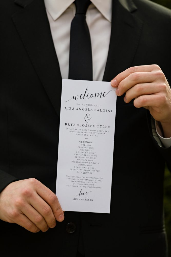 Wedding Ceremony Programs: Elegant Striped Wedding at the Wyndham Grand Pittsburgh from Kristen Wynn Photography featured on Burgh Brides
