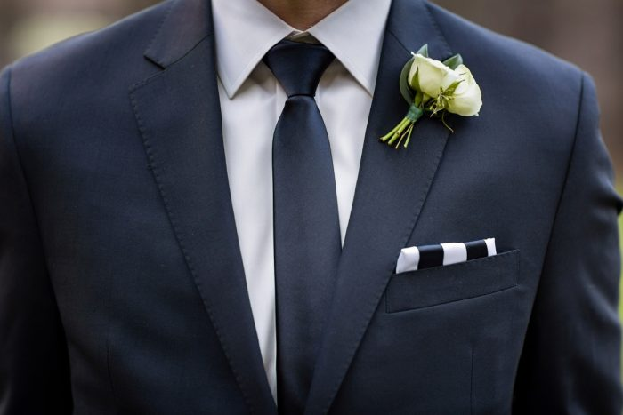 Striped Pocket Square: Elegant Striped Wedding at the Wyndham Grand Pittsburgh from Kristen Wynn Photography featured on Burgh Brides